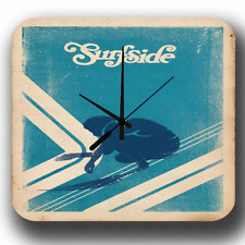 SURFSIDE VINTAGE SURFING METAL TIN SIGN WALL CLOCK