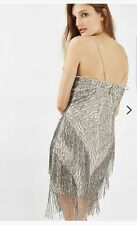 Topshop Frangia Perline Cami Vestito uk12. ANNI 1920 Gatsby Fringe Flapper dress