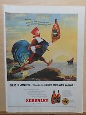 1947 magazine ad for Schenley Whiskey - Pilgrim Sunny Rooster, Thanksgiving ad