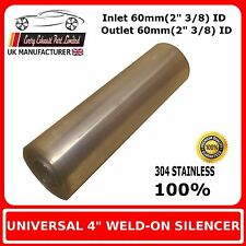 """4"""" x 18"""" Weld On Stainless Steel Silencer Exhaust Box Body, 60mm In - 60mm Out"""