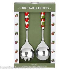Orchard Fruits Set Of 2 Ceramic Handheld Salad Servers Serving