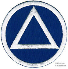 ALCOHOLICS ANONYMOUS iron-on EMBROIDERED PATCH AA applique BLUE WHITE recovery