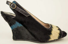 DRIES VAN NOTEN Black White Turquoise Pony Hair Slingback Wedge EU36.5 US6 $1105