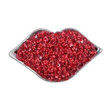 Clay Rhinestone Lips Charm Chunk Snap Button for Noosa Bracelet Necklace #KM01