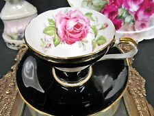 AYNSLEY BLACK TEA CUP AND SAUCER CORSET SHAPE PINK ROSE TEACUP