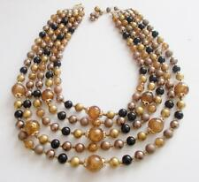 VINTAGE 1950'S BLACK GOLD TONE 7 BRONZE LUCITE PEARL BEADS TIERED NECKLACE JAPAN