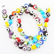 1string Charms Wholesale Assorted Round Smooth Evil Eye Glass Bead 6mm L