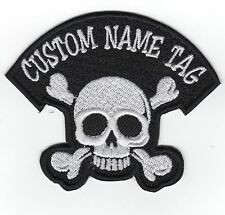 Custom  SKULL Name Tag Embroidery Sew on Patch