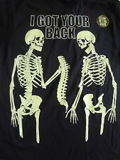 NEW 2XL XXL Skeleton I Got Your Back All Year Halloween Glow in the Dark T-Shirt