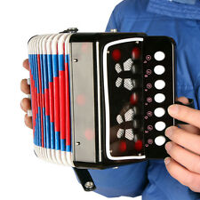 Child Button Toy Accordion Kids Musical Toy w 7 Buttons 2 Bass - Black