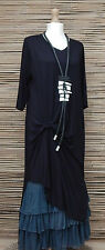 "LAGENLOOK AMAZING QUIRKY ASYMMETRICAL MAXI DRESS*BLACK*BUST UP TO 44"" SIZE M-L"