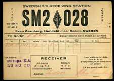 CARD  CARTE  QSL  radio amateur   SUEDE  SWEDEN     1933   ( 145 )