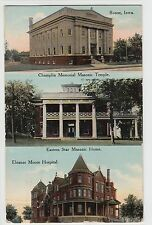 1911 BOONE Iowa Ia Postcard 3-View MASONIC TEMPLE Home Moore Hospital