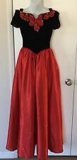 Women's Princess Velour Satin Red Rose Gown Costume Dress SZ S VTG 90's Prom
