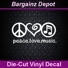 Vinyl Decal... PEACE LOVE MUSIC ...Car Laptop Sticker Decal