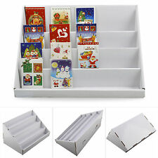 2PCs 4 TIER WHITE COLLAPSIBLE CARDBOARD GREETING CARD DISPLAY STANDS