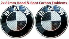 SET 2x 82mm BMW Black Carbon Fibre Badge Emblem Set (front+back) e60 e61 e46 e90