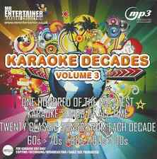 Mr Entertainer Karaoke 100 MP3+G Tracks - Decades 60s,70s,80s,90s,00s Vol 3 MKD3