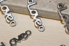 7pc Silver Love  Bracelet Connector Charms 1-3 day Shipping
