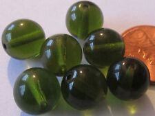 48 Czech Glass 10mm Perfect Olive Green Translucent Round Necklace Beads