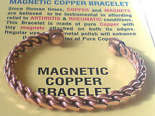 PURE 100% SOLID COPPER 8mm.MAGNETIC BRACELET in a  TWISTED DESIGN £7.50 NWT.