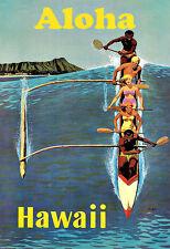 Art ad Hawaii Aloha Canoa Surf Viaje Deco cartel impresión
