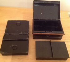 VINTAGE METAL MONEY/CASH BOX - No Key & Larger Cash Two Part Tray -