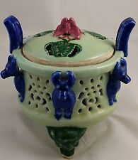 Vintage 1950-60's Chinese Mud Clay Ceramic Beast & Butterfly Incense Burner Pot