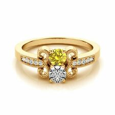 1.097  Carat Yellow&White VS2-SI1 2 Diamond Solitaire Engagement Ring 14k YG