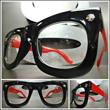 Mens or Women VINTAGE RETRO Style Clear Lens EYE GLASSES Black Red Fashion Frame