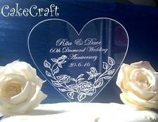Engraved  Acrylic Personalised Diamond Anniversary cake toppers decorations