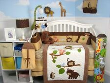 CRIB BEDDING SET ANIMAL BABIES Infant Baby Boy Nursery 13 Pc Quilt Sheet & More