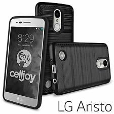 LG Aristo MS210 / LG LV3 - HARD HYBRID PHONE SKIN CASE COVER BLACK BRUSHED ARMOR