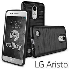 LG Aristo MS210 / LG LV3 - HARD HYBRID PHONE SKIN CASE COVER BLACK BRUSHED ARMOR