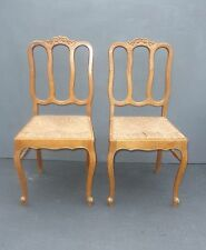 Pair Vintage French Country Farmhouse Rustic Chic CHAIRS w Rush Seats
