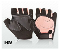 PINK PADDED CYCLING LEATHER GLOVES BICYCLE BIKE CYCLE GYM FITNESS WEIGHT LIFTING
