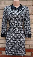 BLUE VANILLA BAROQUE WHITE BLACK FAUX LEATHER A LINE SLEEVE PARTY DRESS L 14