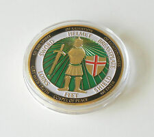 """GOLD PLATED """"ARMOR OF GOD"""" CHRISTIAN MEDAL IN ACRYLIC CASE ~ Ephesians 6: 11-13"""