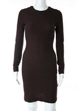KIMBERLY OVITZ Burgundy Red Cotton Pleated Detail Long Sleeve Stretch Dress Sz 0