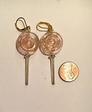 Handmade Pink Glass Lollipop Earrings, Candy Earrings SWEET