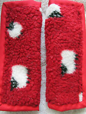 Lightly padded, Sheep on Red Fleece, Car Seat Belt Cover Pads. X2