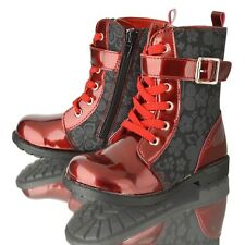 GIRLS KIDS INFANT BUCKLE ZIP FLAT BIKER WINTER BOOTS SHOE SIZE 5-10