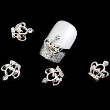 Nail Art Crown 3D Metal Rhinestone Manicure Supplies Jewelry DIY Decoration 5pcs