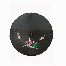 Vintage Oriental Folding Black Wedding Party Nylon Bamboo Umbrella Parasol 15""