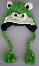 Green FROG Hat Beanie Wool Hand Crocheted Fleece Lining Infant Toddler Size