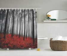 Gray Forest Trees Red Ferns Photo Fabric Shower Curtain Digital Art Bathroom