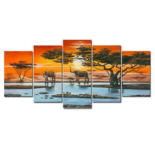 Modern Landscape Painting Pictures Canvas Print Home Wall Decor Elephant Framed