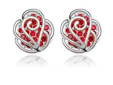 Red Rose Flower Women Girl Jewellery Silver Base Studs Earrings  E232