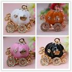 Pumpkin Carriage Crystal Keychain Rhinestone Key ring Christmas Gift YSK186