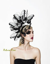 Black butterflies headpiece, couture derby hat, melbourne cup fascinator